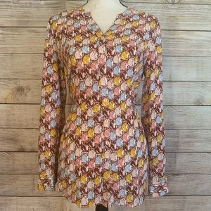 ModCloth Fitted Tie Waist Cat Print Blouse